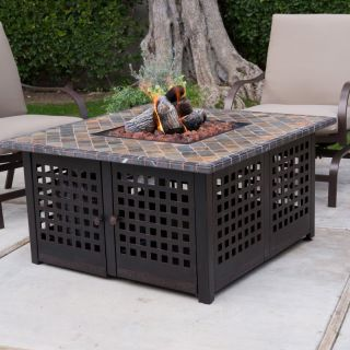 Gas Fire Pit Uniflame LP Gas Fire Pit with Handcrafted Tile