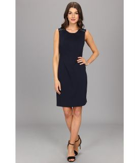 Anne Klein Crew Neck Sheath Dress Womens Dress (Navy)