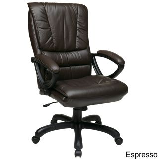 Office Star Products Work Smart High Back Glove Soft Leather Executive Chair (Black, wine, espresso Weight capacity 250 lbs Dimensions 44.25 inches high x 25.5 inches wide x 30 inches deep Seat size 21 inches wide x 19.5 inches deep x 5 inches tall Bac