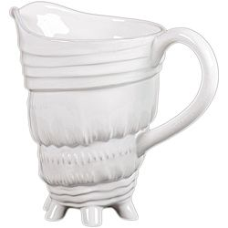 Urban Trends Collection White Ceramic Seashell Pitcher (CeramicDimensions 9.5 inches deep x 6 inches wide x 8.25 inches high)