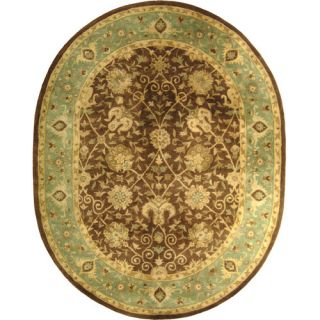 Safavieh Antiquities Brown/Green Rug AT21G Rug Size Oval 76 x 96