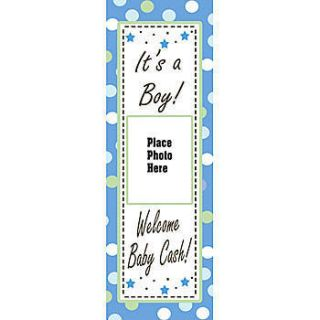 New Baby Boy Vertical Photo Personalized Vinyl Banner    54 X 18 Inches, Blue, Green, Grey, White