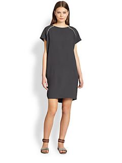 Brunello Cucinelli Silk Monili Detail Dress   Volcano