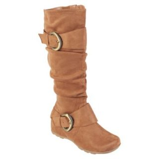 Womens Bamboo By Journee Slouchy Buckle Boots   Camel 10W