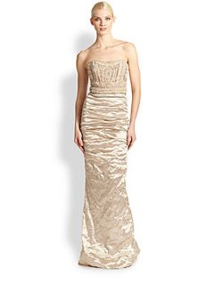 Nicole Miller Strapless Techno Metallic Gown   Champagne
