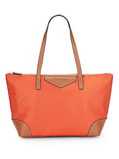 Faux Leather Trimmed Nylon Tote Bag   Tangelo