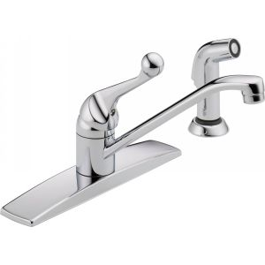 Delta Faucet 400LF WF Universal Delta Single Handle Kitchen Faucet with Spray