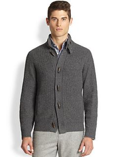 Brunello Cucinelli Cable Knit Cashmere Cardigan   Pewter