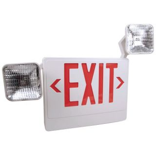 Elco Lighting EE87HR LED Exit Sign, Incandescent Emergency Light Combination Sign White Box with Red Letters