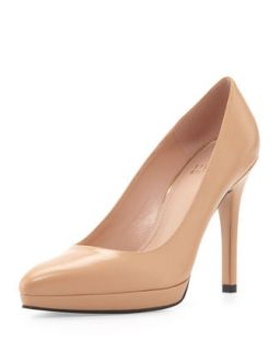 Womens Zsazsa Point Toe Leather Pump, Adobe   Stuart Weitzman