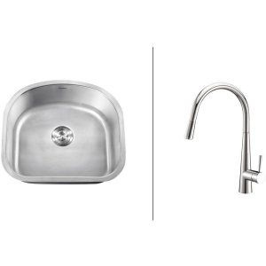 Ruvati RVC2472 Combo Stainless Steel Kitchen Sink and Chrome Faucet Set