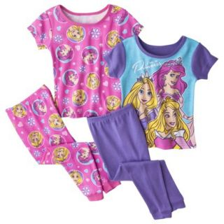 Disney Princess Toddler Girls 4 Piece Short Sleeve Pajama Set   Pink 2T