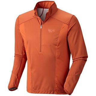 Mountain Hardwear Effusion Power Pullover   Soft Shell  Zip Neck (For Men)   RUSSET ORANGE (XL )