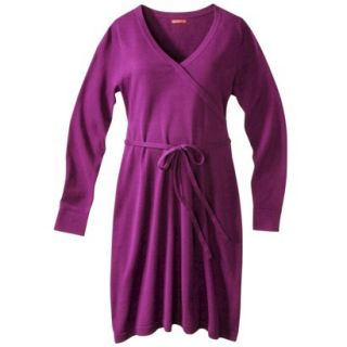 Merona Maternity Long Sleeve V Neck Sweater Dress   Purple L