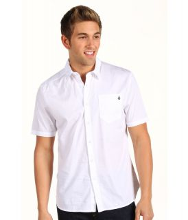 Volcom Why Factor Solid S/S Shirt Mens Short Sleeve Button Up (White)