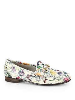 Gucci Floral Print Leather Moccasin Loafers   Natural Floral