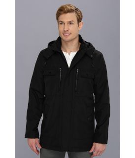 Kenneth Cole Reaction Hooded Zip Front Jacket Mens Coat (Black)