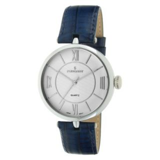 Peugeot Large Dial Leather Strap Watch   Silver/Blue