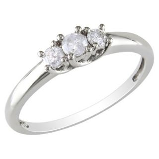 10K White Gold Diamond 3 Stone Ring Silver 7.0