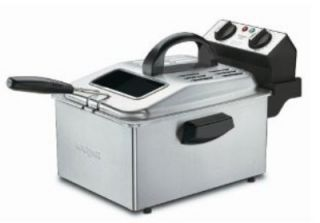Waring 1 Gallon Deep Fryer w/ Mesh Basket & Timer, Brushed Stainless