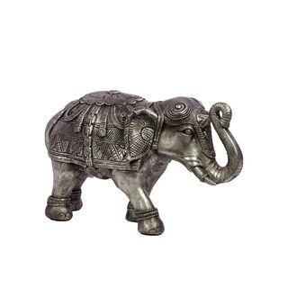 Urban Trends Collection Silver Small Resin Elephant (ResinFinish SilverDimensions 7.68 inches high x 5.12 inches wide x 12.99 inches deep UPC 877101730057For Decorative Purposes OnlyDoes Not Hold Water)