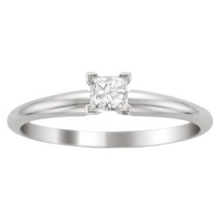 1/3 CT.T.W Princess Cut Diamond Solitaire Prong Set Ring in 14K White Gold (I0J,
