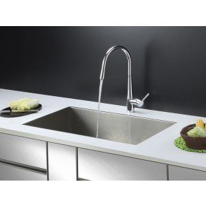 Ruvati RVC2602 Combo Stainless Steel Kitchen Sink and Chrome Faucet Set