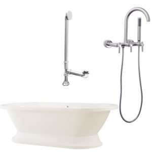 Giagni LC1 BN Capri Tub with Plinth, Drain & Wall Mount Faucet with Hand Shower