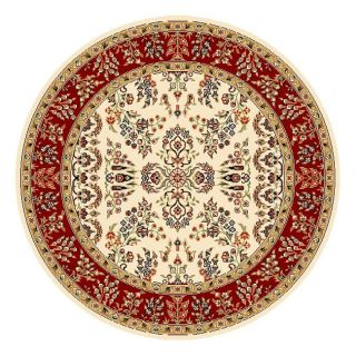 Lyndhurst Collection Ivory/ Red Rug (5 3 Round) (IvoryPattern OrientalMeasures 0.375 inch thickTip We recommend the use of a non skid pad to keep the rug in place on smooth surfaces.All rug sizes are approximate. Due to the difference of monitor colors,