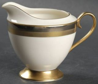 Gorham Royal Contessa Creamer, Fine China Dinnerware   Platinum & Gold Bands