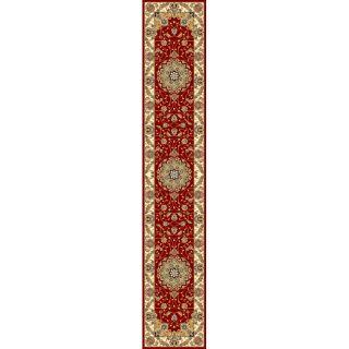 Lyndhurst Collection Red/ Ivory Runner (23 X 14) (RedPattern OrientalMeasures 0.375 inch thickTip We recommend the use of a non skid pad to keep the rug in place on smooth surfaces.All rug sizes are approximate. Due to the dyeing process and difference