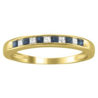 1/3 CT.T.W. Diamond and Sapphire Band Ring in 14K Yellow Gold   Size 8