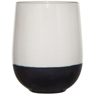 Threshold Color Block Cup Vase   White/Black 7.4