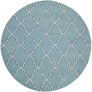 Safavieh Hand woven Moroccan Dhurries Light Blue/ Ivory Wool Rug (6 Round)