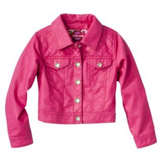 Dollhouse Girls Faux Leather Quilted Jacket   Pink 4