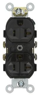 Leviton CR20E Electrical Outlet, Duplex Receptacle, 20A Commercial Grade with Self Grounding Clip Black