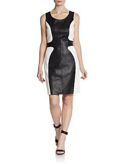Leather/Knit Colorblock Sheath Dress   Black White