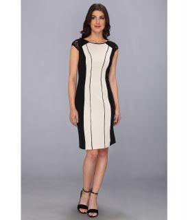 Adrianna Papell Beaded Shine Sheath Dress Womens Dress (Bone)