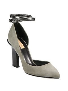 Suede and Metallic Leather Ankle Strap DOrsay Pumps   Grey