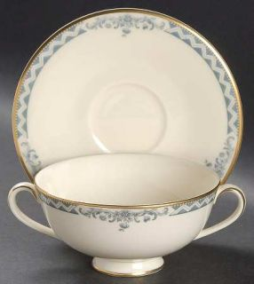 Royal Doulton Josephine (Smooth, Gold Trim) Footed Cream Soup Bowl & Cup Saucer