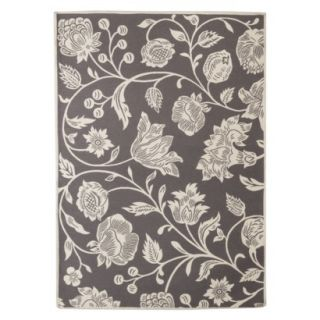 Threshold Indoor/Outdoor Floral Area Rug   Gray (5x7)