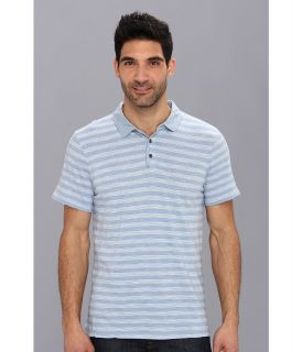 Calvin Klein Jeans Heather Stripe 1 Pocket Polo Mens Short Sleeve Pullover (Blue)