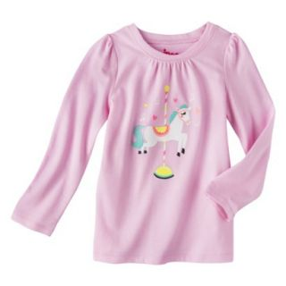 Circo Infant Toddler Girls Long sleeve Carosel Horse Tee   Pink 18 M
