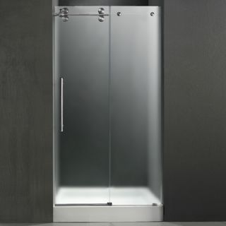 Vigo Industries VG6041STMT48LWS Shower Door, 48 Frameless 3/8 Left w/White Base Center Drain Frosted/Stainless Steel