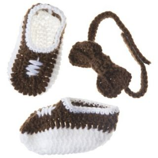 Sodorable Infant Girls Bow Headband and Bootie Set   Brown/White