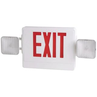 Elco Lighting EE97HR Combo Emergency Exit Lighting Sign White Box with Red Lettering
