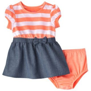 Cherokee Newborn Infant Girls Short Sleeve Dress Set   Orange/Chambray NB