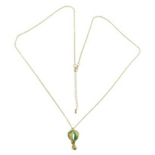Womens Long Chain Necklace with Hot Air Balloon Pendant Necklace   Green/Gold