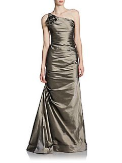 One Shoulder Taffeta Gown   Gold