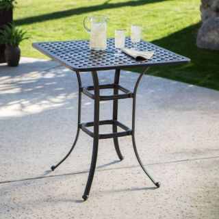 Alfresco Home LLC Palazetto Milan Collection Cast Aluminum Square Bar Table